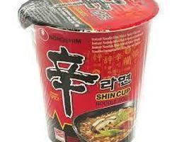 Instant cup noodles, hot (Shin Ramen)